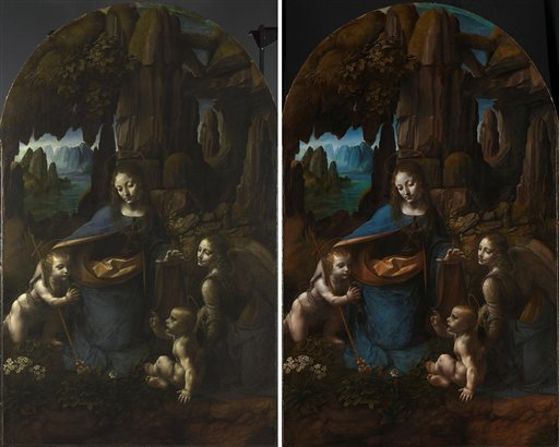 An undated image made available by the National Gallery in London of Leonardo da Vinci's Virgin on the Rocks before (left) and after restoration.