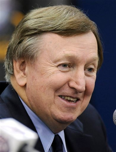In this Dec. 1, 2009, file photo, New Jersey Nets president Rod Thorn talks to reporters at a news conference announcing general manager Kiki Vandeweghe as the team's interim NBA head basketball in East Rutherford, N.J.