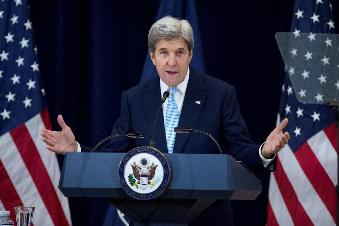 Secretary of State John Kerry speaks at the State Department in Washington, Wednesday, Dec. 28, 2016. (AP Photo/Andrew Harnik)