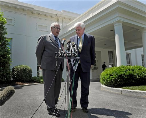May 21, 2010, file photo House Financial Services Committee Chairman Rep. Barney Frank, D-Mass., left, and Senate Banking Committee Chairman Sen. Christopher Dodd, D-Conn., speak to reporters outside the White House. (AP Photo/Susan Walsh, File)