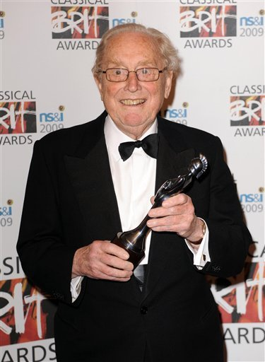 A May 14, 2009 photo from files of Australian conductor Sir Charles Mackerras receiving a Brit Award. The symphony and opera conductor has died of cancer at age 84.