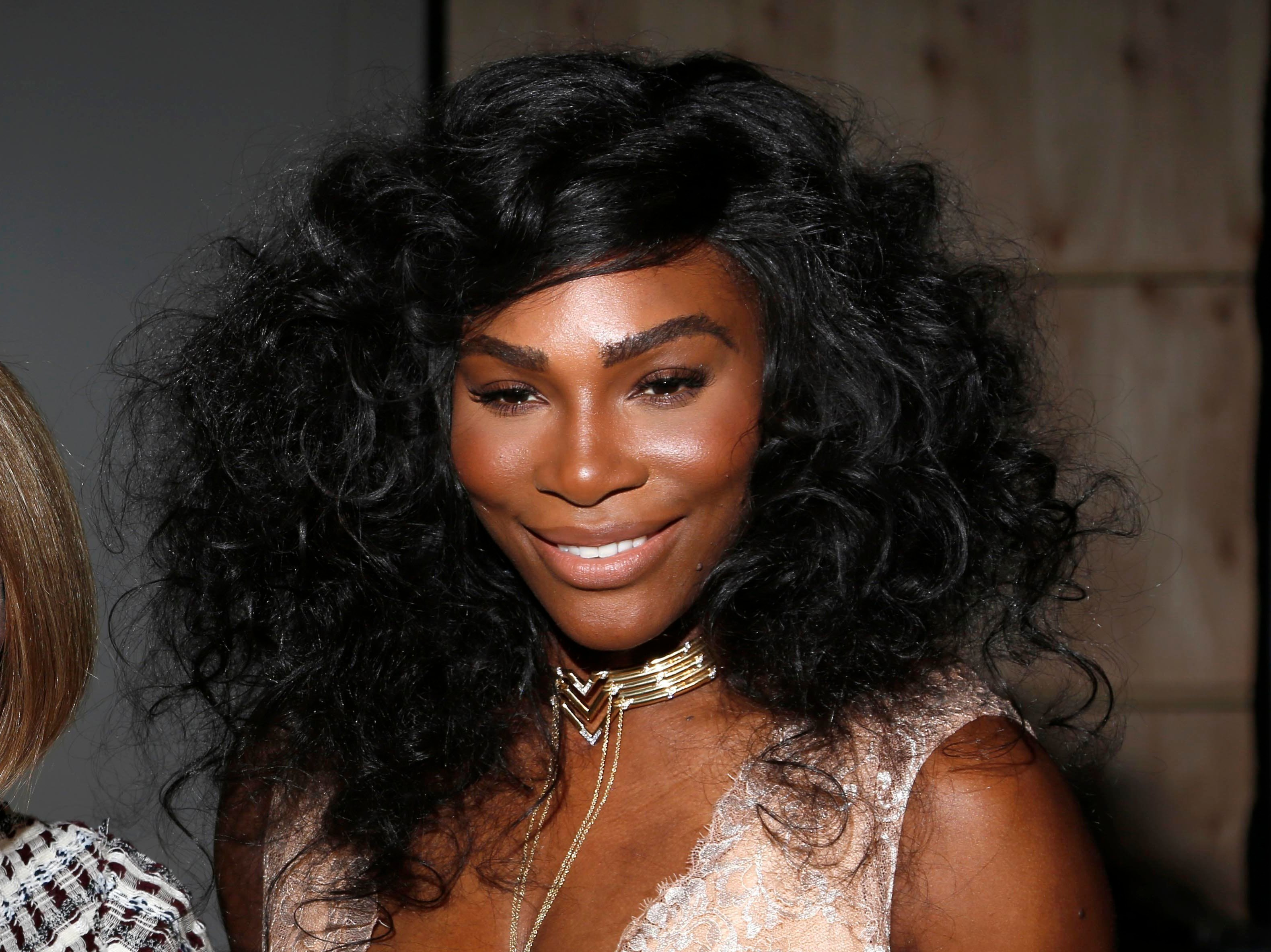 FILE - In this Sept. 12, 2016 file photo, Serena Williams poses for a picture before the Serena Williams Signature Statement Spring 2017 collection is modeled during Fashion Week in New York.