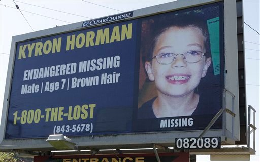 A billboard of Kyron Horman, who has been missing since June 4, is seen along a road in Portland, Ore., Tuesday, July 6, 2010.  (AP Photo/Rick Bowmer)