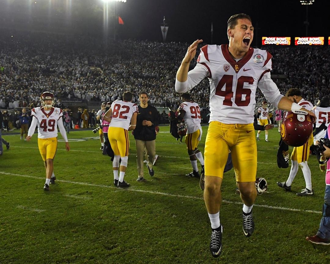 Southern California place kicker Wyatt Schmidt celebrates after during the Rose Bowl NCAA college football game against Penn State Monday, Jan. 2, 2017, in Pasadena, Calif. (AP Photo/Mark J. Terrill)