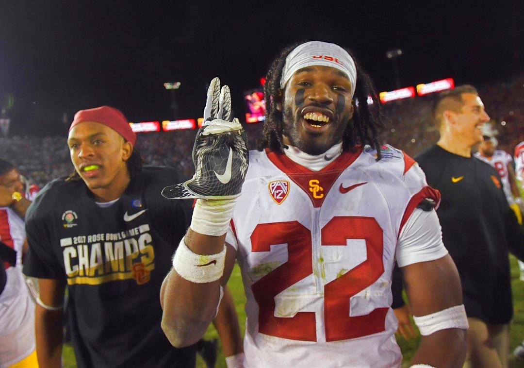Southern California defensive back Leon McQuay III celebrates after the Rose Bowl NCAA college football game against Penn State Monday, Jan. 2, 2017, in Pasadena, Calif. (AP Photo/Mark J. Terrill)