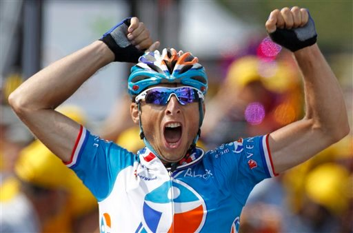 Pierrick Fedrigo of France crosses the finish line to win the 16th stage of the Tour de France cycling race over 199.5 kilometers (124 miles) with start in Bagneres-de-Luchon and finish in Pau, Pyrenees region, France, Tuesday, July 20, 2010. (AP Photo/La