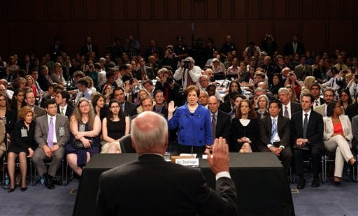 Senate Judiciary Committee Chairman Sen. Patrick Leahy, D-Vt., swears in Supreme Court nominee Elena Kagan on Capitol Hill in Washington, Monday, June 28, 2010, during her confirmation hearings before the committee. (AP Photo/WinMcNamee, Pool)