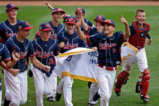 The Endwell, N.Y. team takes a victory lap of the field at Lamade Stadium after a 2-1 win in the Little League World Series Championship baseball game over South Korea in South Williamsport, Pa., Sunday, Aug. 28, 2016.