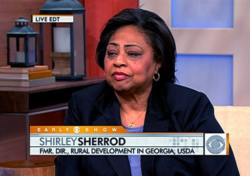"""In a photo made from video provided by CBSNews.com, former USDA official Shirley Sherrod is interviewed Thursday, July 22, 2010 on """"The Early Show""""."""
