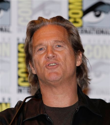 """Actor Jeff Bridges talks during a news conference held for the movie """"Tron"""" at Comic-Con International Thursday, July 22, 2010 in San Diego. (AP Photo/Denis Poroy)"""