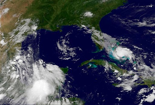 This image provided by NOAA taken late Thursday July 22, 2010 shows Tropical Storm Bonnie as she steamed through the central Bahamas on Thursday night. (AP photo/NOAA)