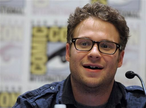 "Actor Seth Rogen speaks during a press conference for his feature film ""The Green Hornet"" at Comic Con in San Diego, Calif. on Friday, July 23, 2010. (AP Photo/Dan Steinberg)"