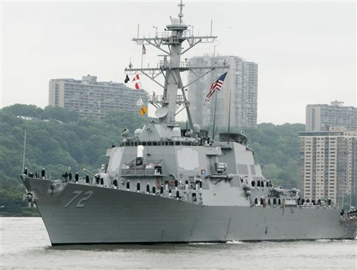 In this May 26, 2004 file photo, the USS Mahan, a guided-missile destroyer, moves up the Hudson River in New York during Fleet Week.