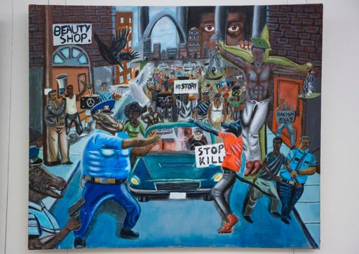 In this Jan. 5, 2017, photo, a painting by David Pulphus hangs in a hallway displaying paintings by high school students selected by their member of congress on Capitol Hill in Washington.