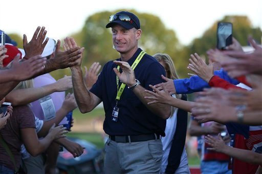 Fans congratulate Jim Furyk after the conclusion of the afternoon fourball matchs of the 2016 Ryder Cup at Hazeltine National Golf Club in Chaska, Minnesota.