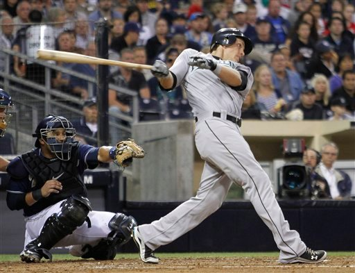 Florida Marlins' Logan Morrison, right, follows through on an RBI single run during the third inning of a baseball game against the San Diego Padres Friday, July 30, 2010 in San Diego. (AP Photo/Denis Poroy)