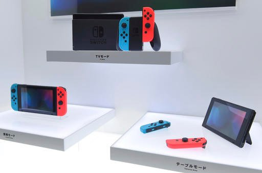 "Nintendo Co., Ltd. introduces a new hybrid game machine ""Nintendo Switch"" with the properties of both stationary and portable equipment in Koto Ward, Tokyo on Jan. 13, 2017."