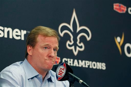 NFL commissioner Roger Goodell speaks at a media conference at the New Orleans Saints training facility in Metairie, La., Monday, Aug. 2, 2010. (AP Photo/Gerald Herbert)