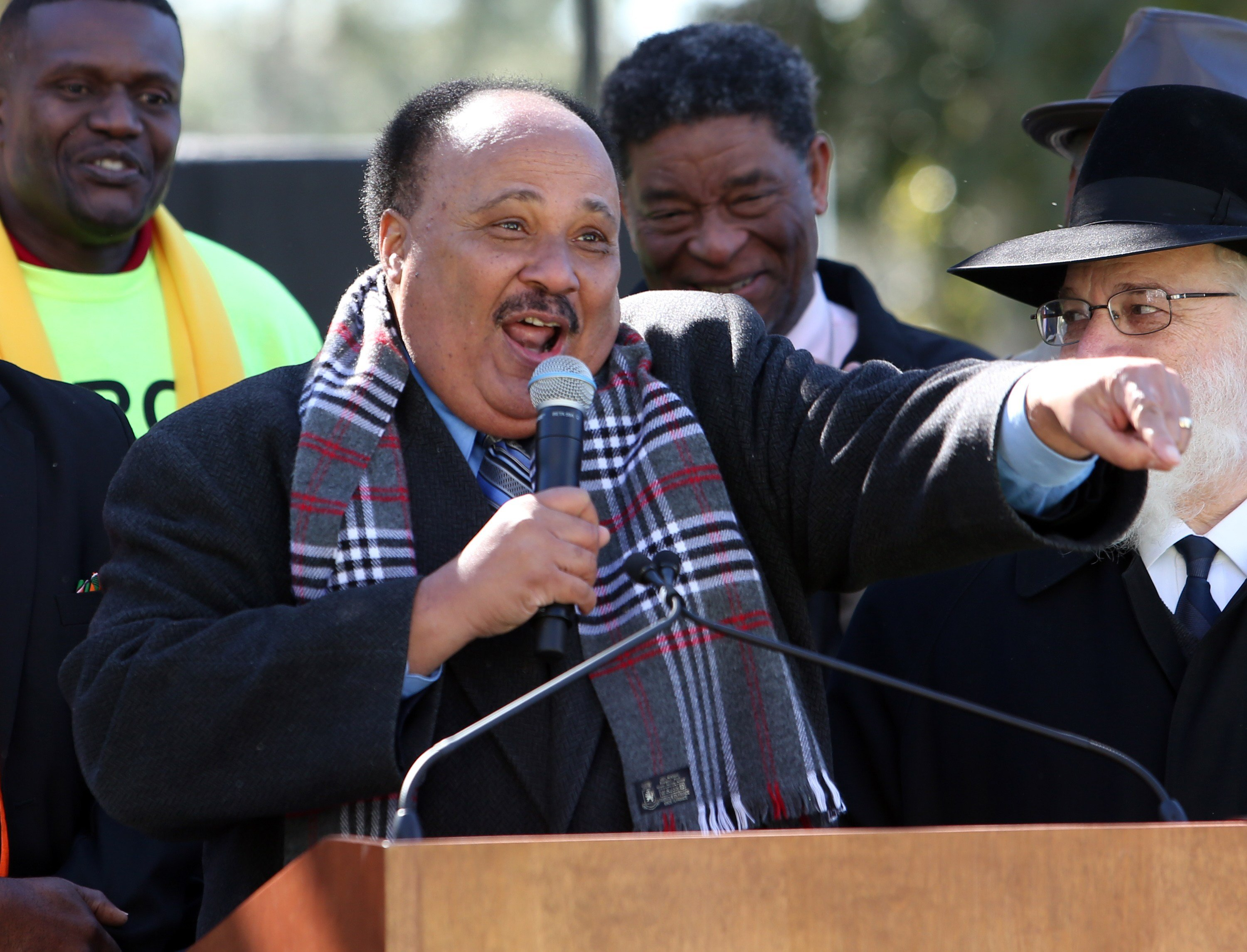 Martin Luther King III speaks to demonstrators at the Capitol as they rally in support of the school voucher program, Tuesday, Jan.19, 2016, in Tallahassee, Fla.  (AP Photo/Steve Cannon)
