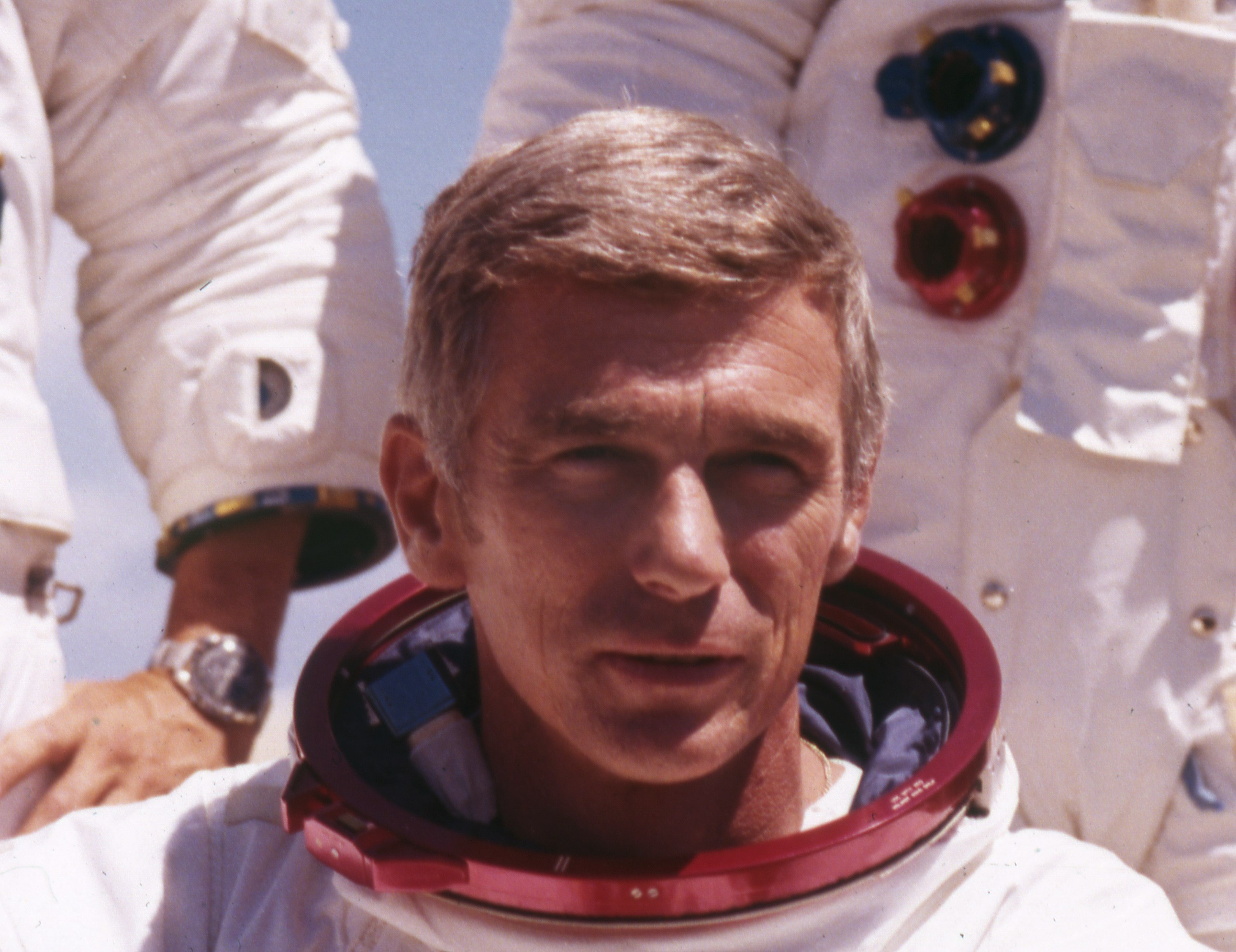 U.S. American navy commander and astronaut, Eugene Cernan, is pictured in his space suit, 1972. (AP Photo)