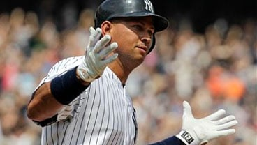 New York Yankees Alex Rodriguez reacts after hitting his 600th career home run during the first inning of a baseball game against the Toronto Blue Jays at Yankee Stadium on Wednesday, Aug. 4, 2010 in New York. (AP Photo/Kathy Willens)