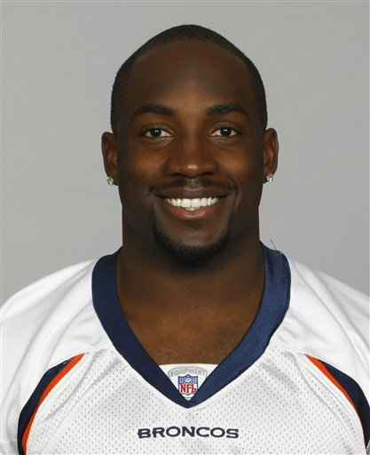 In this May 1, 2009, file photo, Elvis Dumervil of the Denver Broncos NFL football team smiles for the camera. Dumervil thrived last season in the Broncos' new defensive alignment that turned him from a classic 4-3 defensive end into a 3-4 linebacker.
