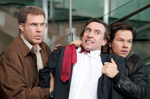 """In this film publicity file image released by Columbia Pictures, Will Ferrell, left, Steve Coogan and Mark Wahlberg, right, are shown in a scene from """"The Other Guys."""" (AP Photo/Columbia Pictures-Sony, Macall Polay, File)"""