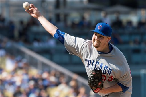 Chicago Cubs Pitcher Trevor Cahill (53) in action during the game against the Los Angeles Dodgers played at Dodger Stadium in Los Angeles, CA.