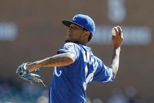 Kansas City Royals starting pitcher Yordano Ventura throws during the first inning of a baseball game against the Detroit Tigers, Saturday, Sept. 24, 2016, in Detroit.