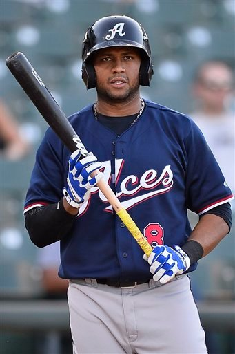 Reno Aces third baseman Andy Marte (8) during pacific coast league baseball game, Friday August 15, 2014 in Round Rock, Tex.