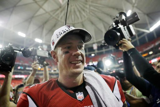 Atlanta Falcons' Matt Ryan walks off the field after the NFL football NFC championship game against the Green Bay Packers, Sunday, Jan. 22, 2017, in Atlanta.