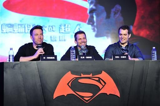 """American actor Ben Affleck, director Zack Snyder and British actor Henry Cavill attend a press conference to promote their new movie """"Batman v Superman: Dawn of Justice"""", alternatively known as """"Batman vs. Superman"""", in Beijing, China, 11 March 2016."""