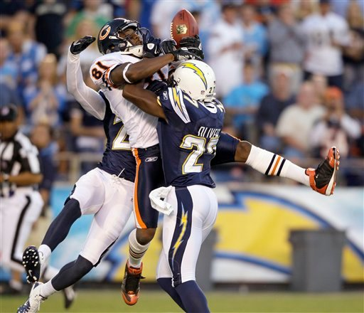 Chicago Bears' Rashied Davis drops a pass between San Diego Chargers Brandon Hughes, left, and Paul Oliver.