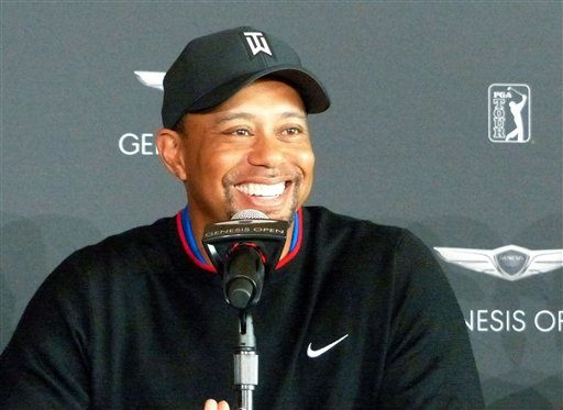 Tiger Woods attends a press conference in Pacific Palisades, California, on Jan. 23, 2017, just days before his first PGA Tour appearance since August 2015, at the Farmers Insurance Open at Torrey Pines in San Diego.