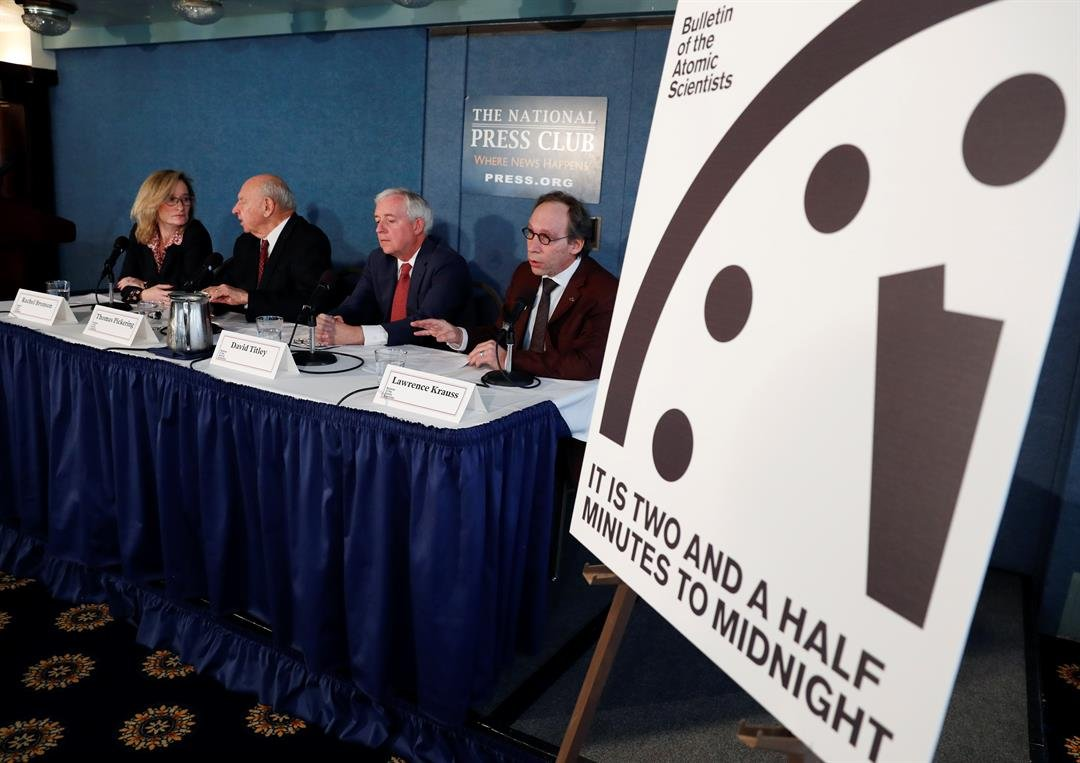 A news conference the at the National Press Club in Washington, announcing that the Bulletin of the Atomic Scientist have moved the minute hand of the Doomsday Clock to two and a half minutes to midnight. (AP Photo/Carolyn Kaster)