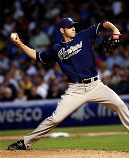 San Diego Padres' starting pitcher Jon Garland pitches to the Chicago Cubs in the 1st inning of a baseball game on Tuesday August 17, 2010, in Chicago. (AP Photo/Charles Cherney)