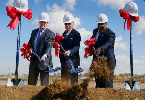 NFL Commissioner Roger Goodell, left, joins Los Angeles Rams owner Stan Kroenke, center, and Inglewood Mayor James T. Butts Jr. during groundbreaking ceremonies.