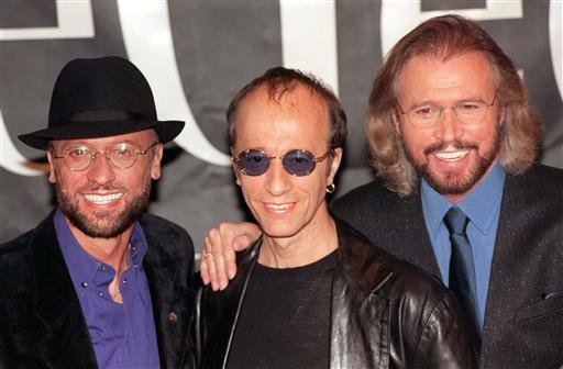 The Bee Gees (from left) Maurice, Robin and Barry Gibb.