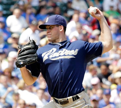 San Diego Padres' Clayton Richard delivers during the first inning of a baseball game against the Chicago Cubs, Wednesday, Aug. 18, 2010, at Wrigley Field in Chicago. (AP Photo/Charles Rex Arbogast)
