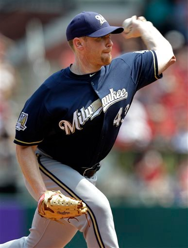 Milwaukee Brewers starting pitcher Randy Wolf throws during the first inning of a baseball game Wednesday, Aug. 18, 2010, in St. Louis. (AP Photo/Jeff Roberson)