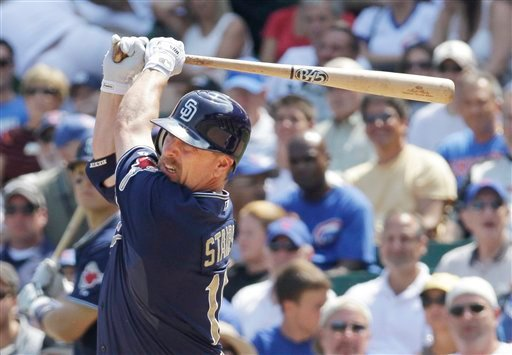 San Diego Padres' Matt Stairs hits a two-run double off Chicago Cubs starting pitcher Casey Coleman, scoring Jerry Hairston Jr. and Adrian Gonzalez.