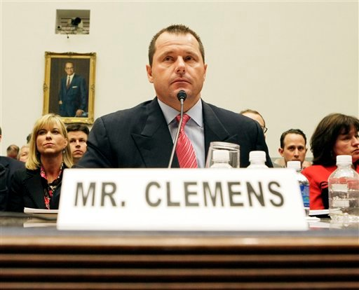 This Feb. 13, 2008, file photo shows former New York Yankees baseball pitcher Roger Clemens testifying before the House Oversight, and Government Reform Committee on Capitol Hill in Washington.