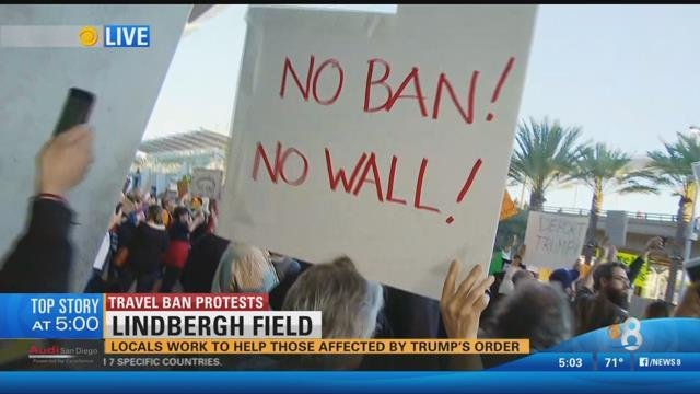 Protests resumed Sunday night at San Diego International Airport