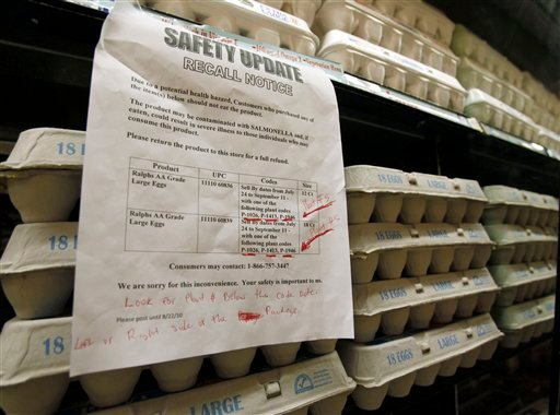 A sign warns customers of the recall of certain lots of eggs that had been previously sold at a supermarket in Los Angeles, Thursday, Aug. 19, 2010.