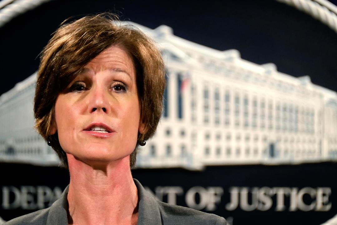 FILE - In this June 28, 2016 file photo, Deputy Attorney General Sally Yates speaks during a news conference at the Justice Department in Washington.