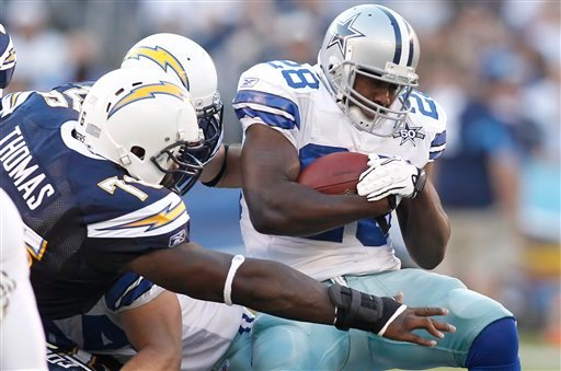 Dallas Cowboys running back Felix Jones, brakes away from San Diego Chargers defensive tackle Cam Thomas during the first half of an NFL preseason football game Saturday, Aug. 21, 2010, in San Diego. (AP Photo/Denis Poroy)