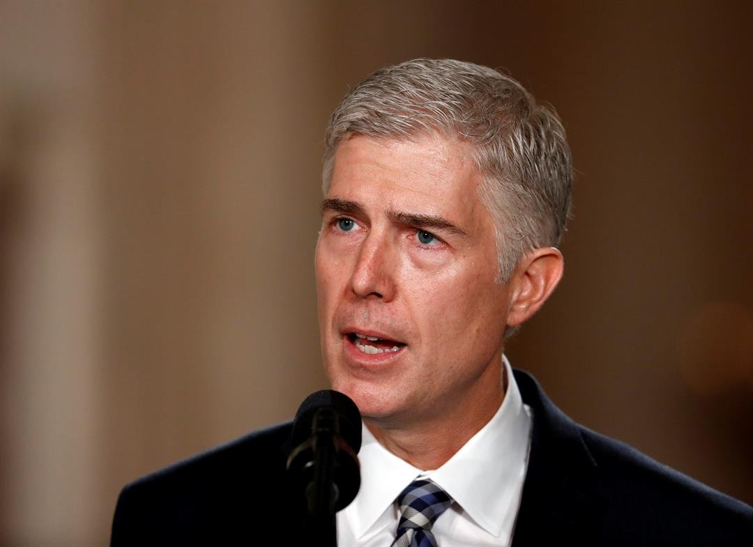 Judge Neil Gorsuch speaks in the East Room of the White House in Washington, Tuesday, Jan. 31, 2017, after President Donald Trump announced Gorsuch as his nominee for the Supreme Court. (AP Photo/Carolyn Kaster)