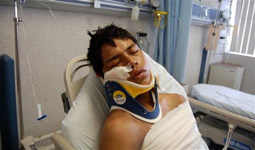 Ecuadorean citizen Luis Fredy Lala Pomavilla,rests at a hospital in Matamoros, eastern Mexico, Tuesday, Aug. 24, 2010.