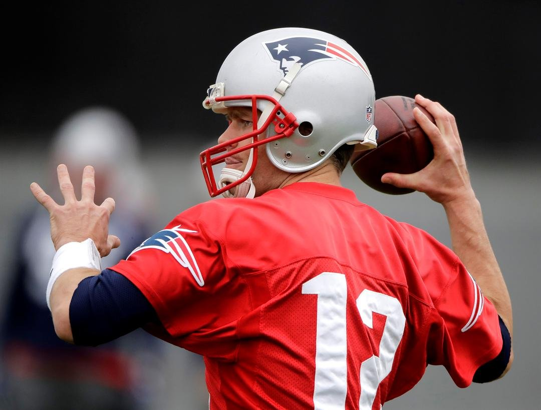 New England Patriots quarterback Tom Brady participates in a drill during practice for the NFL Super Bowl 51 football game Friday, Feb. 3, 2017, in Houston. The Patriots will face the Atlanta Falcons in the Super Bowl Sunday. (AP Photo/Charlie Riedel)