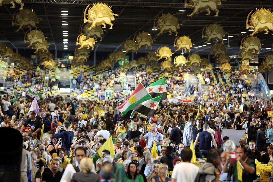 In this 2014 file photo, thousands of exiled Iranians gathered in Villepinte, north of Paris, to listen to the speech of Maryam Rajavi, the leader of the National Council of Resistance of Iran. (AP Photo/Rermy de la Mauviniere, File)